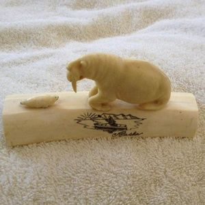 White Carved Walrus and Baby Seal Figurine